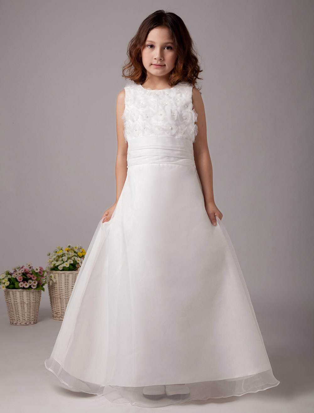 Cute White Sleeveless Embroidery Satin Flower Girl Dress