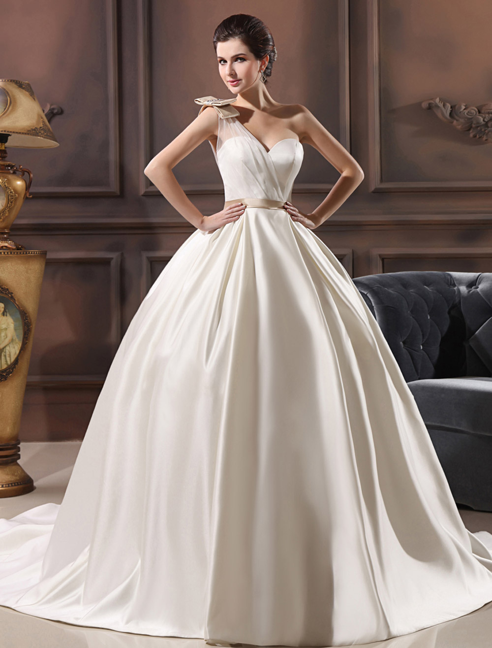 Ivory A-Line One-Shoulder Rhinestone Satin Wedding Dress For Bride Milanoo