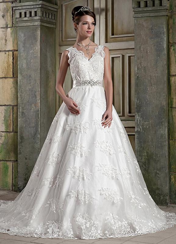 Satin Brautkleid mit Trägern , Spitzen und Perlen-Applikationen in ...