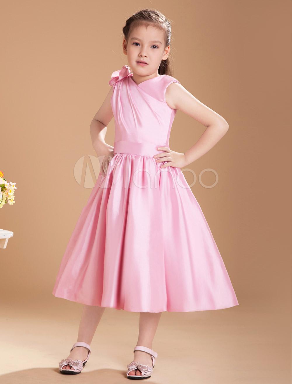 ef5c122fba6be ... Lovely Pink Taffeta V-neck Knee Length Junior Bridesmaid Dress-No.7.  12. Color: AddThis Sharing Buttons