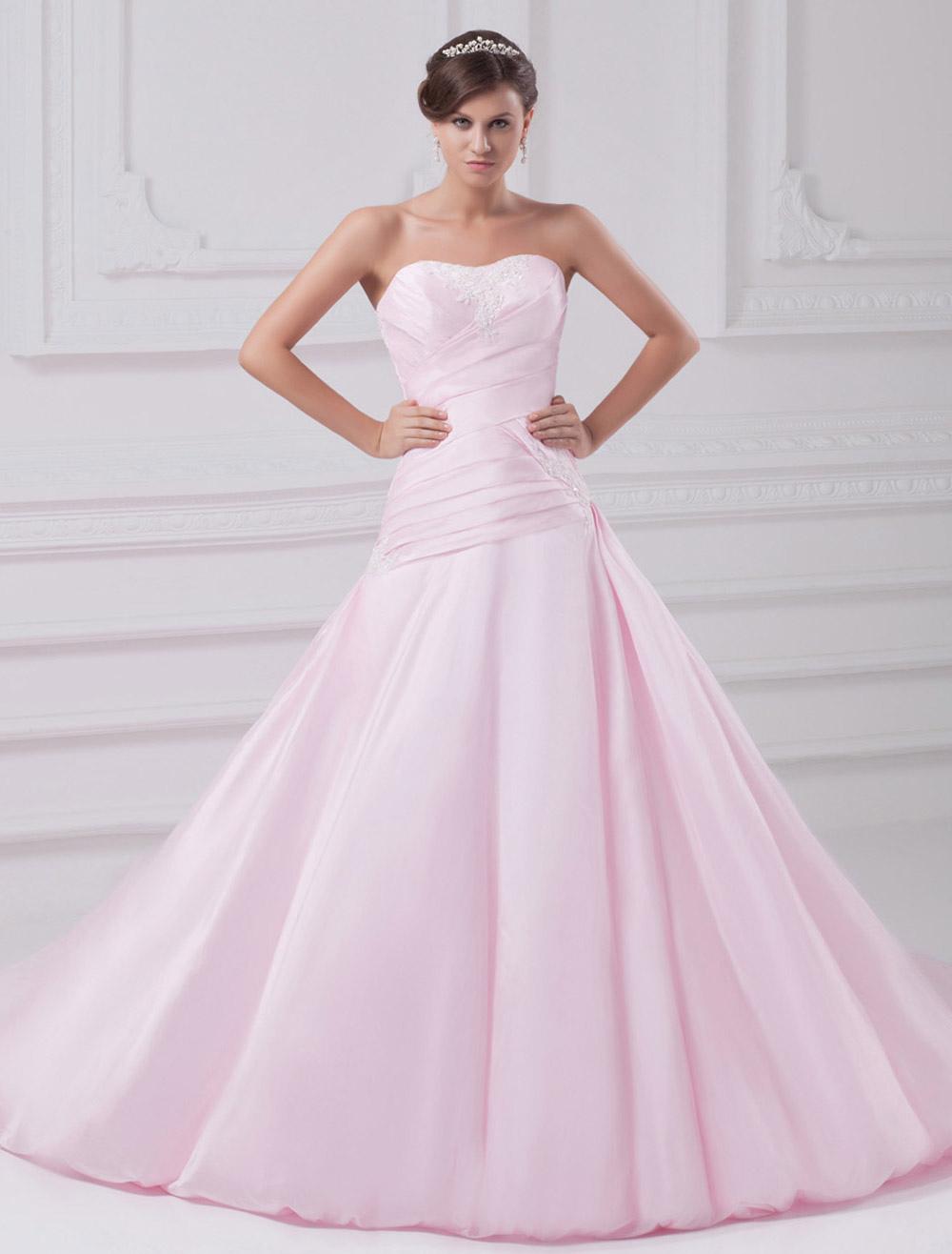 A-line Sweetheart Neck Strapless Ruched Taffeta Pink Wedding Dress