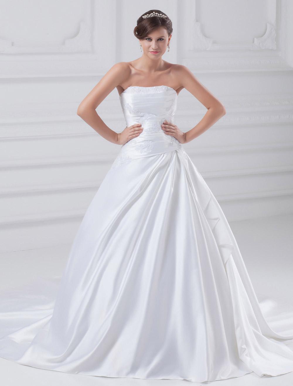 White ball gown beading satin wedding dress for bride for White silk wedding dress