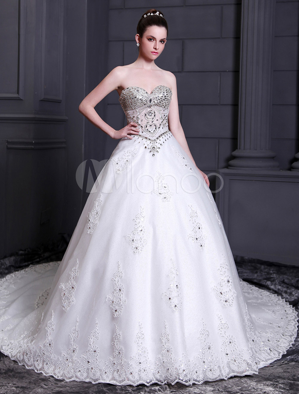 Cathedral Train Sweetheart A-line Sequin White Bridal Wedding Gown