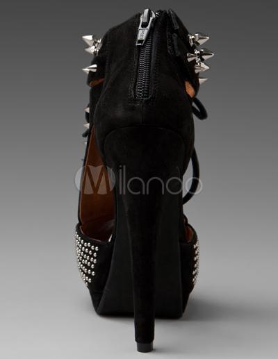 d06d7857de56 Punk Studded Peep Toe High Heel Booties - Milanoo.com
