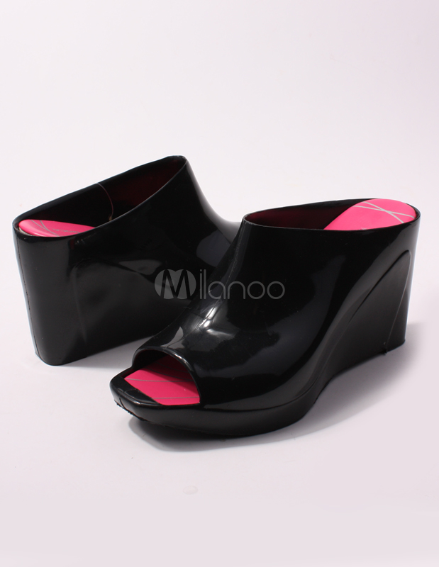 Black Wedge Heel Open Toe Plastic Jelly Shoes Milanoo Com
