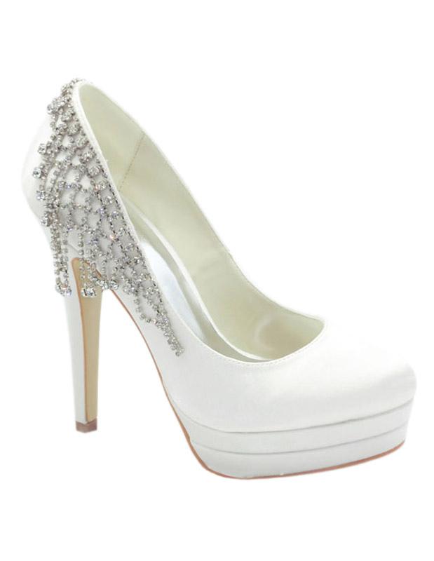 White Platform Bridal Evening Pumps Satin Rhinestone High Heels