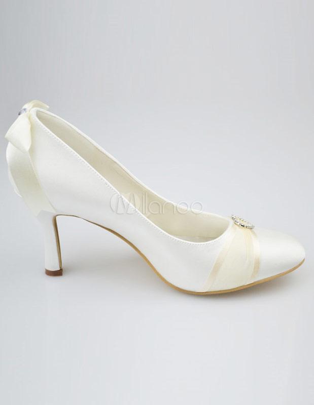 ... Chaussures de mariage à talons aigus ivoires avec rhinestones-No.4 ...