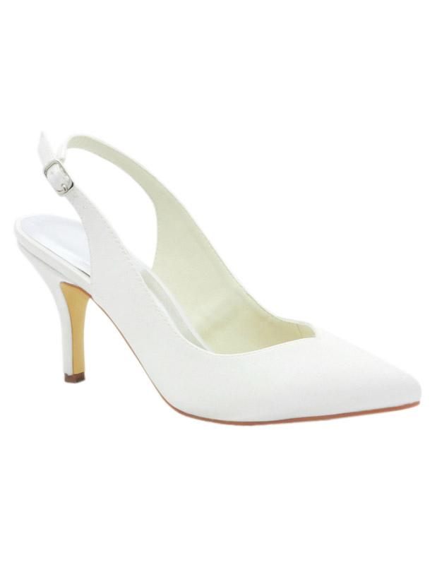 Elegant White Satin Pointed Toe Slingback Bridal Sandals