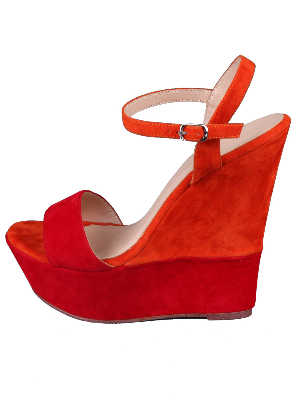 Red Wedge Sandals Suede Women's Ankle Strap ... - Red Wedge Sandals Suede Women's Ankle Strap Shoes - Milanoo.com