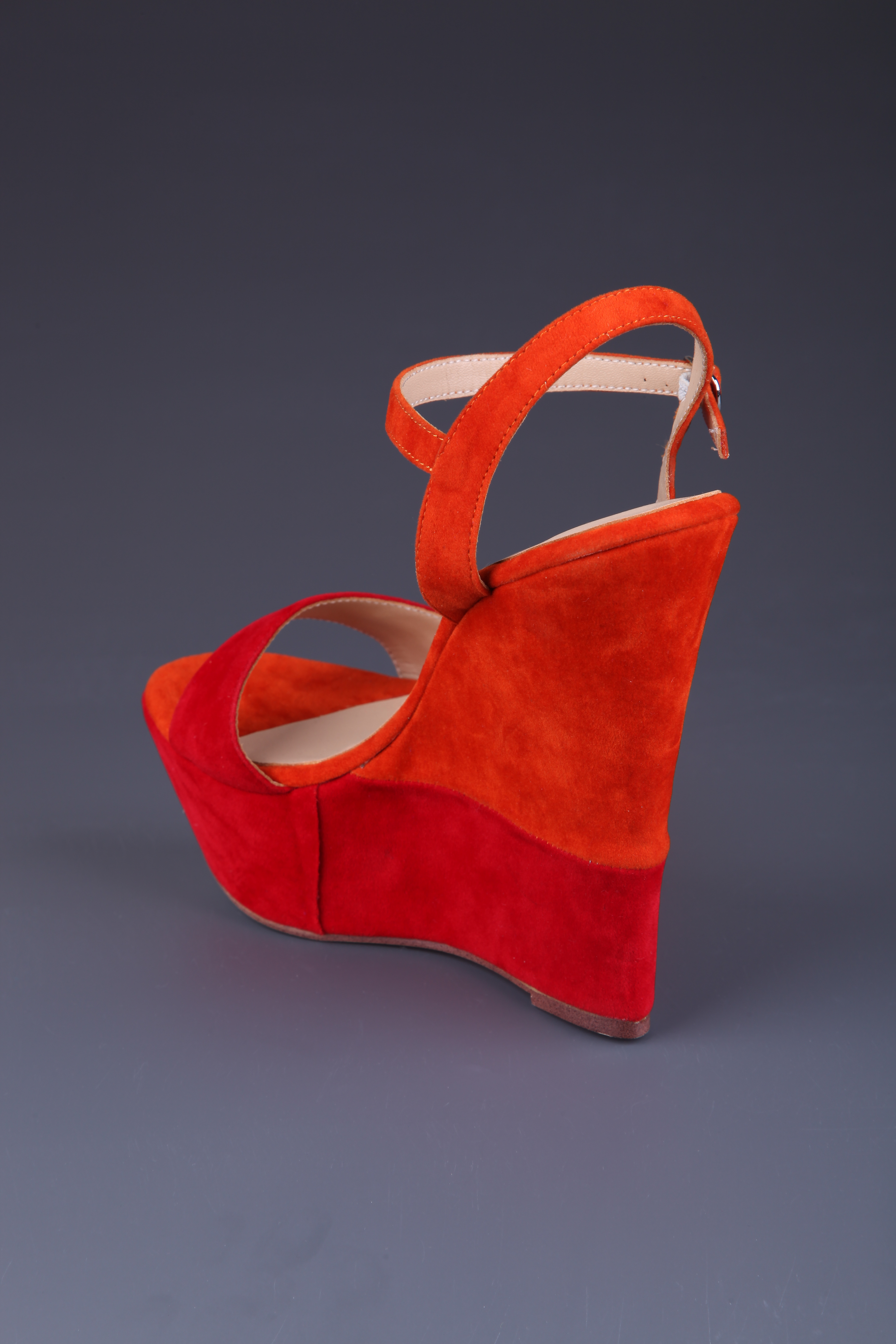 2f0ca8b35c Red Wedge Sandals Suede Women's Ankle Strap Shoes - Milanoo.com
