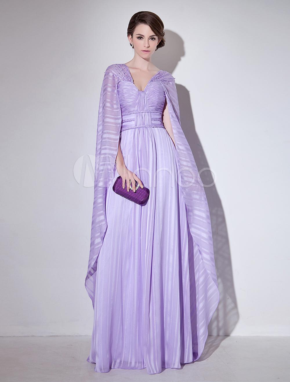 Vestido de noche de gasa de color lila sin mangas con cuello en V ...