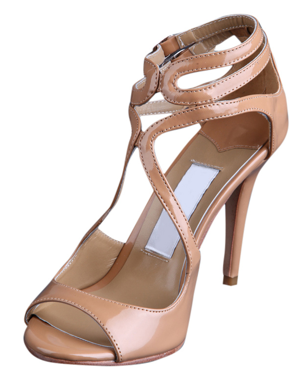 Buy Nude Buckle Open Toe Patent Leather Womens Dress Sandals for $53.99 in Milanoo store