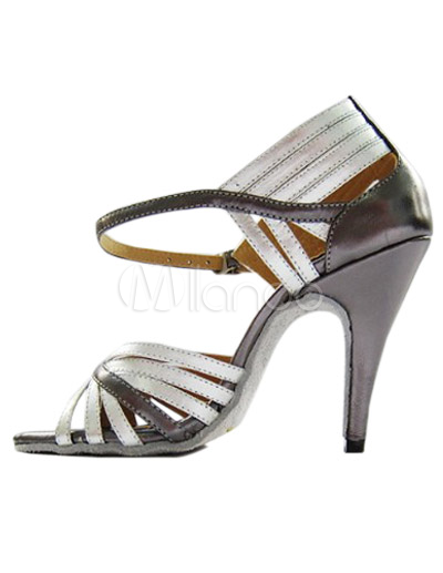 Silver Spike Heel Marry Jeans Professional Ballroom Shoes