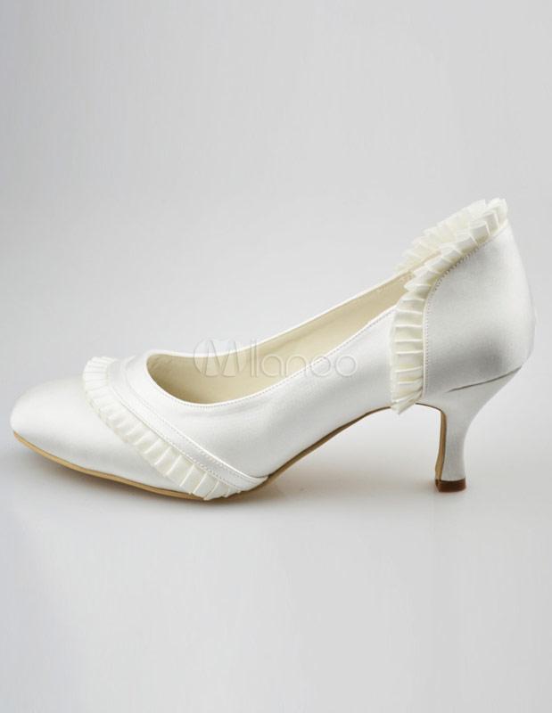 ... Chaussures de mariage ivoires en satin avec fronce-No.2 ...