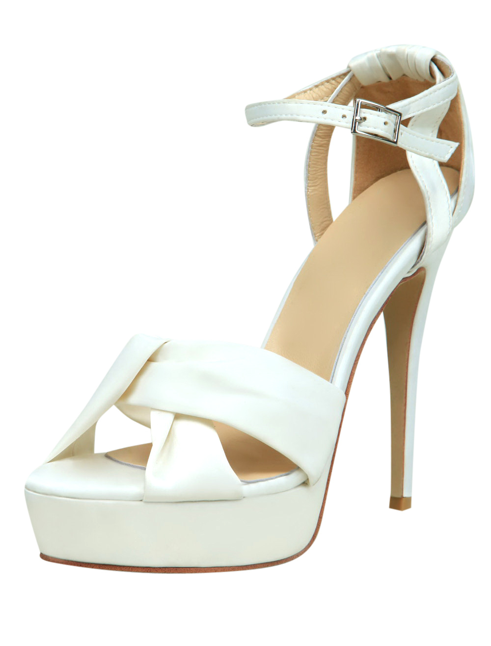 Buy White Ankle Strap Knotted Satin Womens Dress Sandals for $39.89 in Milanoo store