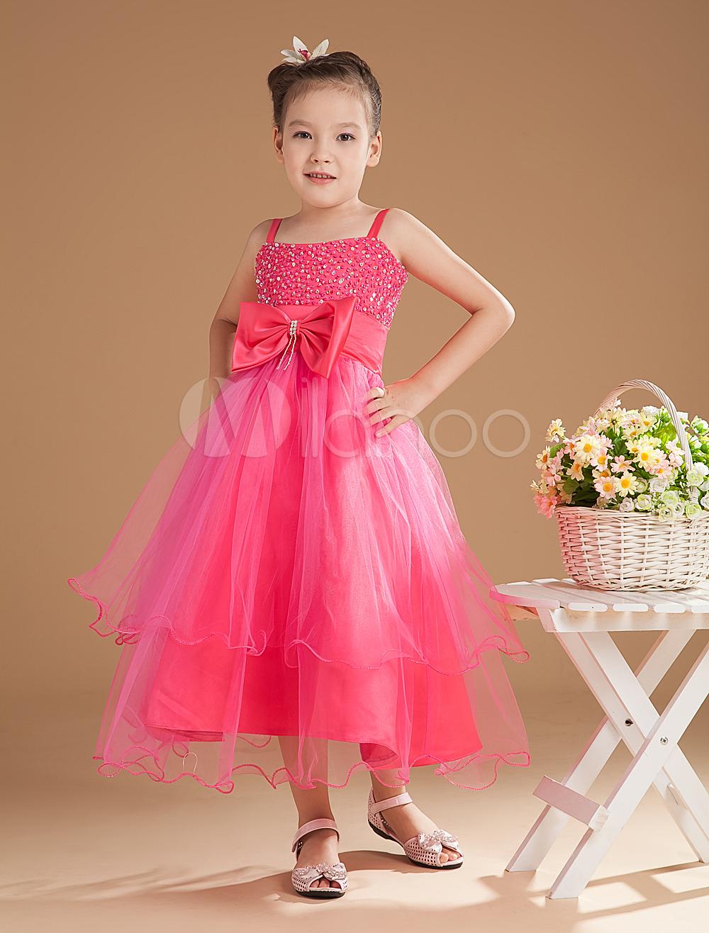 Vestido para las damitas de tul Rosa caliente con tirantes con capas ...