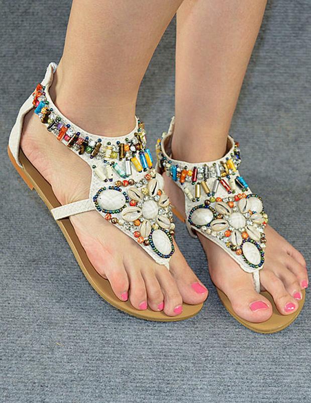 2cfd30d8741 Bohemian PU Leather Beading Beach Sandals For Women - Milanoo.com
