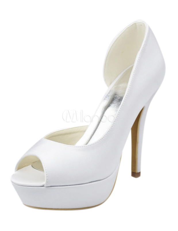 Buy Charming Stiletto Heel Peep Toe Silk And Satin Lady's Wedding Shoes for $64.59 in Milanoo store