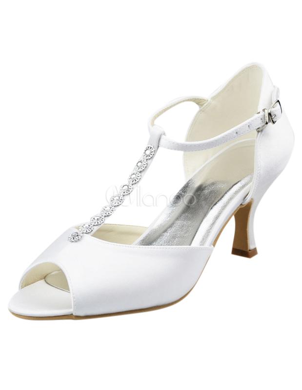 3c550ea4d118 Charming T-Strap Stiletto Heel Peep Toe Silk And Satin Cute Women s Wedding  Shoes ...
