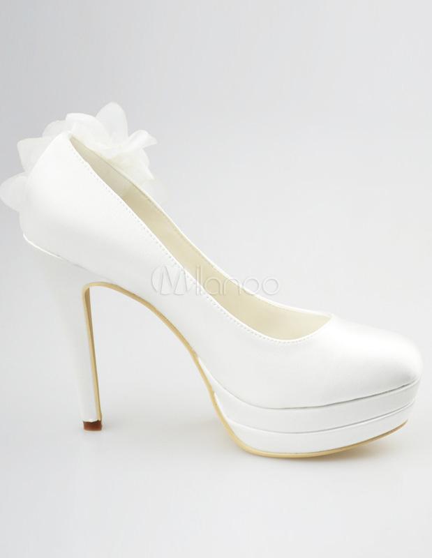 Chaussures plateforme de mariage rétro avec talon aigu orné de  fleur,No.3