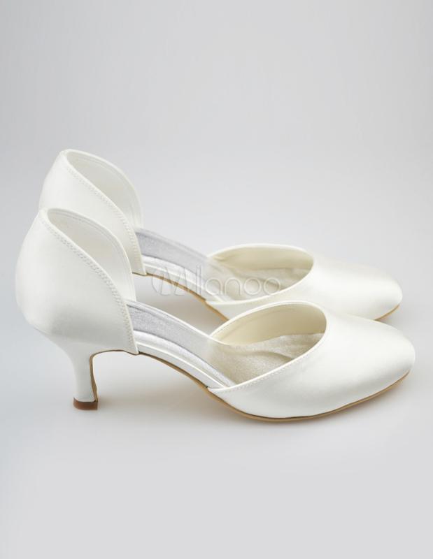 ... Chaussure de mariée en soie et satin voirie unicolore à bout rond -No.5  ...