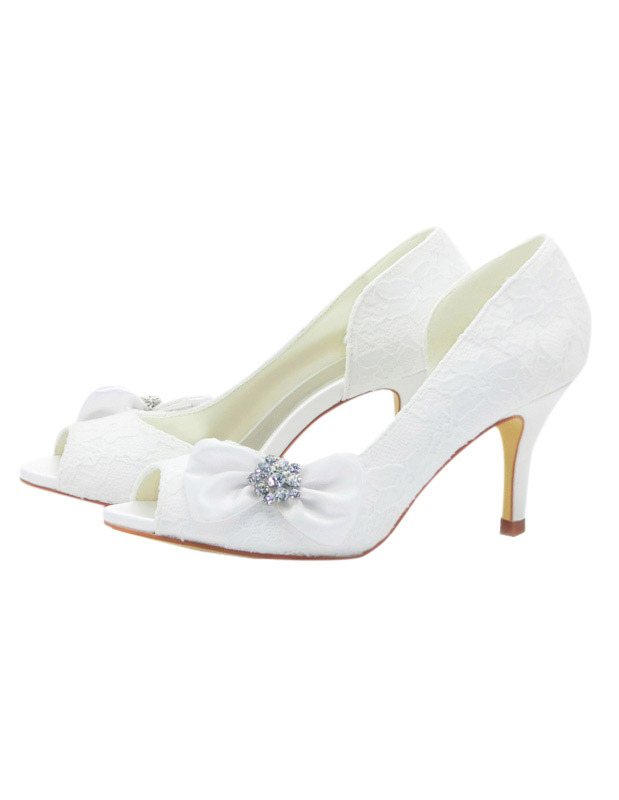 Satin Bow Cut Out Spike Heel Bridal Shoes