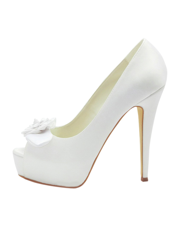Milanoo / Formal Satin Piping Bow Peep Toe Spike Heel Bride's Shoes