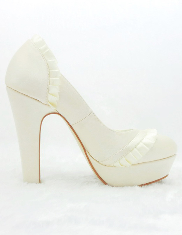 Champagne Shoes With A Chunky Heel