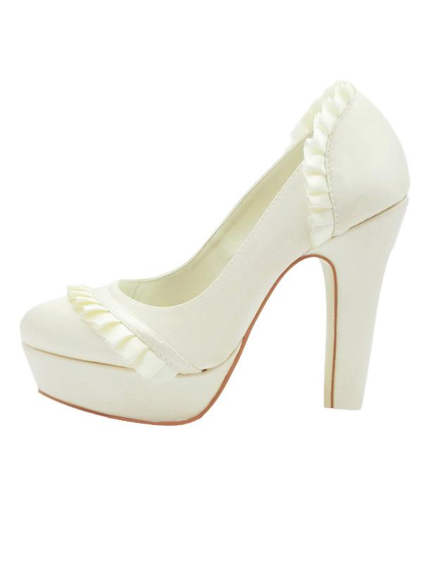 Formale raso scarpe da sposa tacco grosso di tubazioni - Milanoo.com 69cd442508a