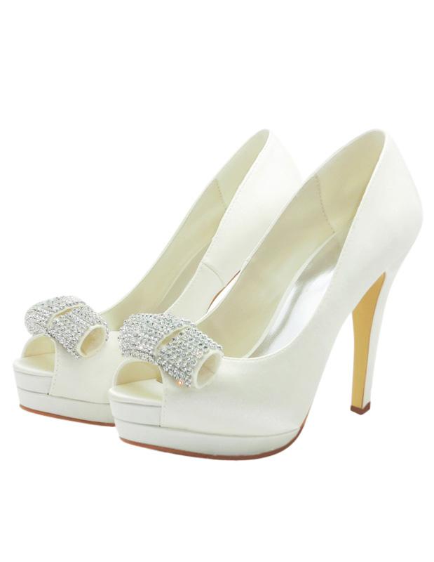 Formal Satin Rhinestone Peep Toe Spike Heel Bride's Shoes