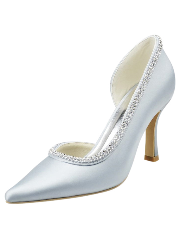 Gorgeous Stiletto Heel Pointed Toe Silk And Satin Lady's Wedding Shoes