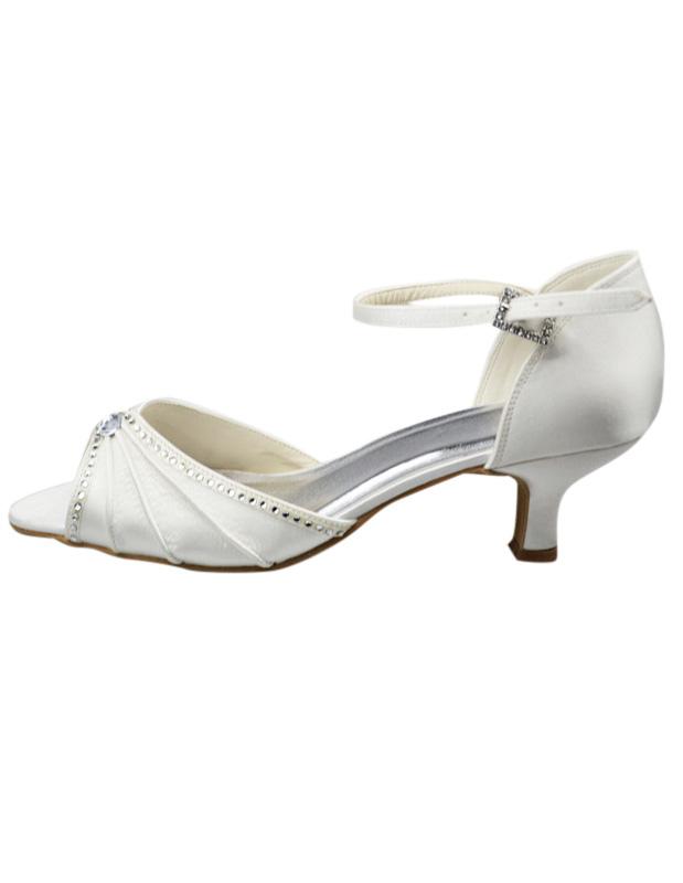 Graceful Silk And Satin Rhinestone Peep Toe High Heels