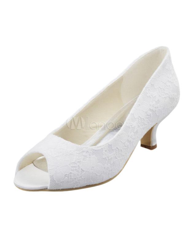 Lace Stiletto Heel Peep Toe Lace Wedding Shoes