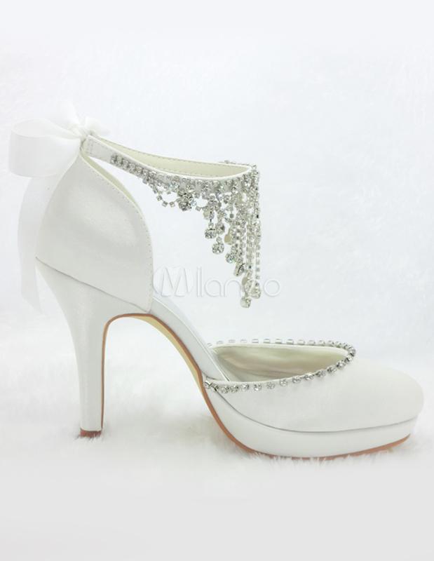 Zapatos 2019 Zapatos Alto de Tacón Blancos Satén Bridales de Boda bg76yf