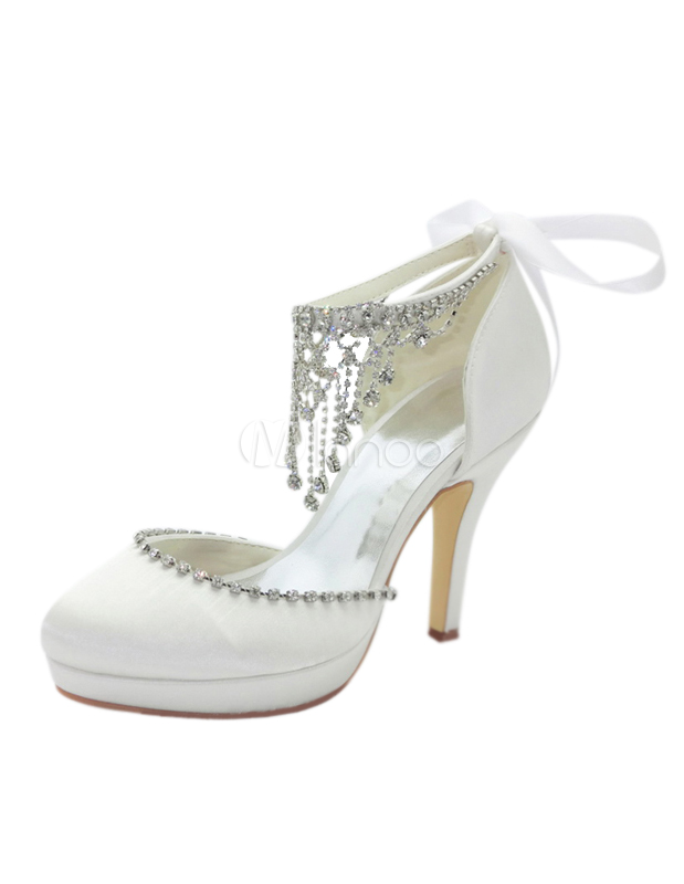 Milanoo / Satin Rhinestone Bow Ankle Strap Spike Heel Sandals For Bride