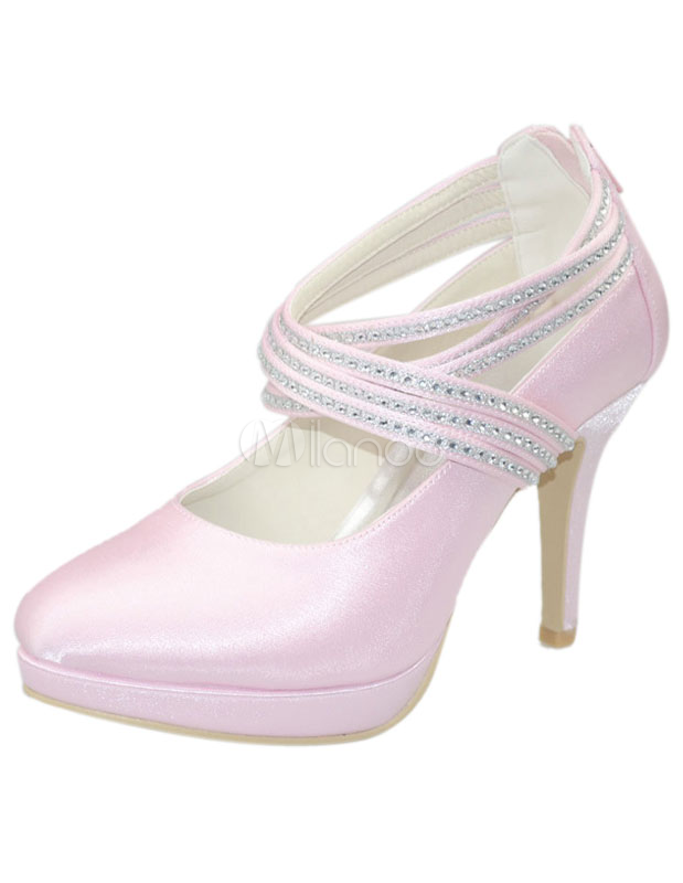 Sweet Shiny Rhinestone Stiletto Heel Almond Toe Silk And Satin Lady's Wedding Shoes