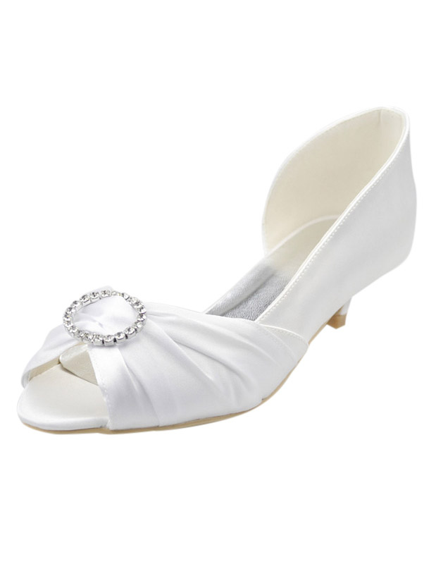 White Rhinestone Peep Toe Silk And Satin Chic Woman's Evening Shoes