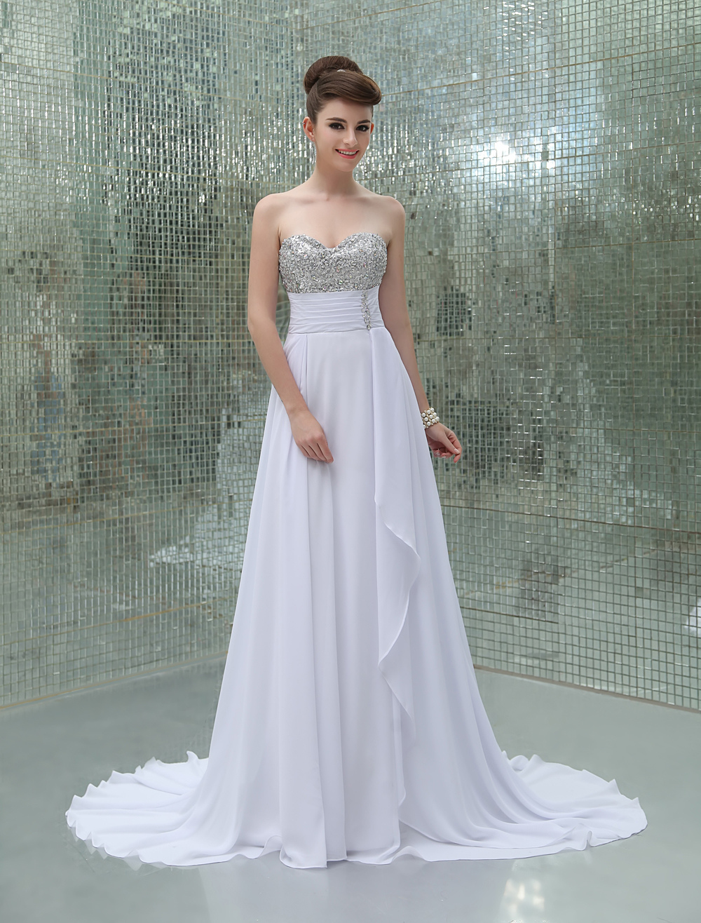 Buy A-line White Chiffon Sequin Sweetheart Neck Sweep Evening Dress for $132.99 in Milanoo store
