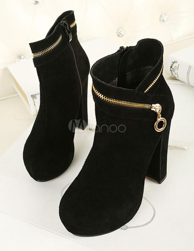 premium selection 05ac2 99846 Favoloso nero rotondo alto tacco grosso stivaletti Toe Zipper vacchetta  donna