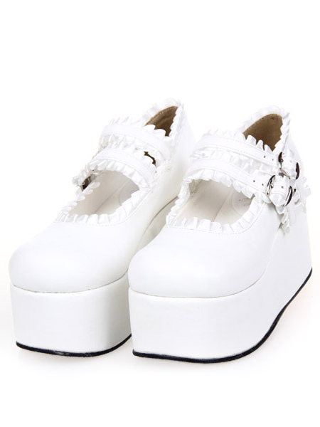 Sweet Lolita High Platform Shoes Ribbon Trim Straps Buckles