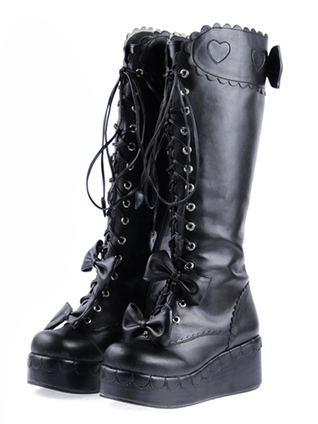Sweet Black PU Leather Front Lace Up Bow Lolita Boots