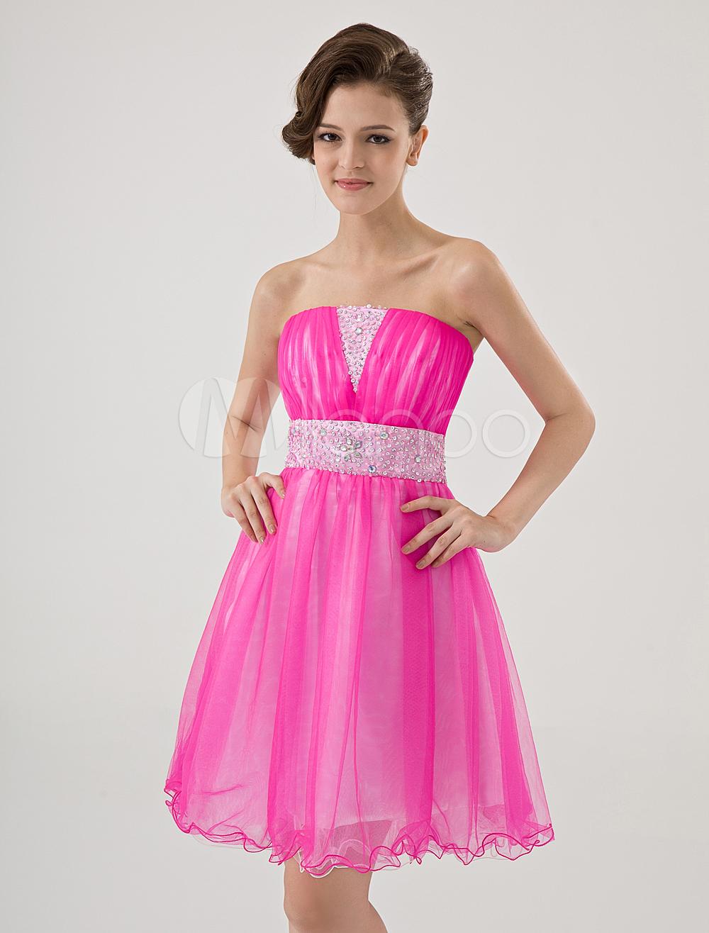 Mini vestido para homecoming de color fucsia sin tirantes de línea A ...