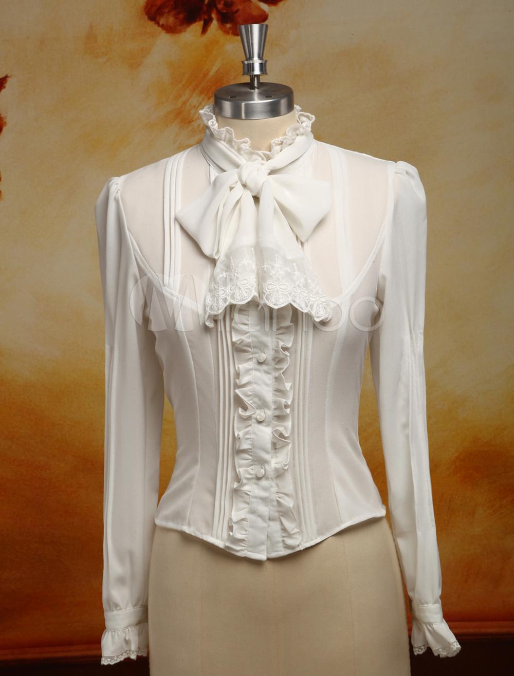 White Chiffon Lolita Blouse Long Sleeves Stand Collar Lace Trim Ruffles