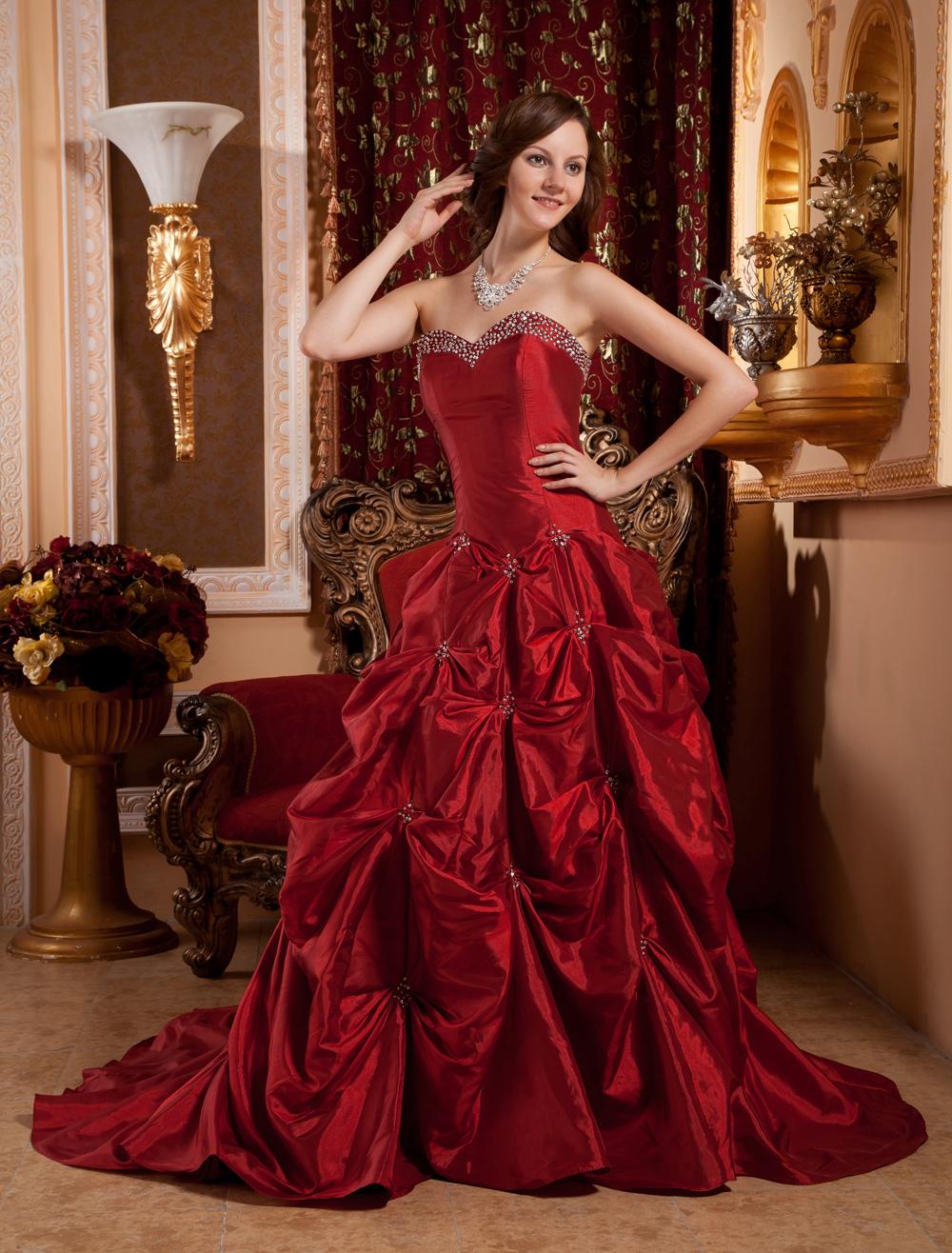 Ball Gown Burgundy Taffeta Sweetheart Neck Quinceanera Dress