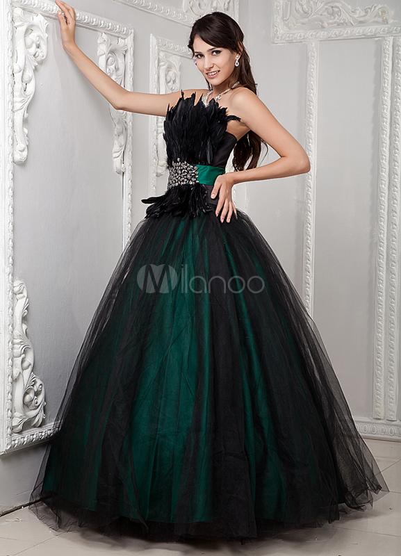 Dark Green and Black Dress