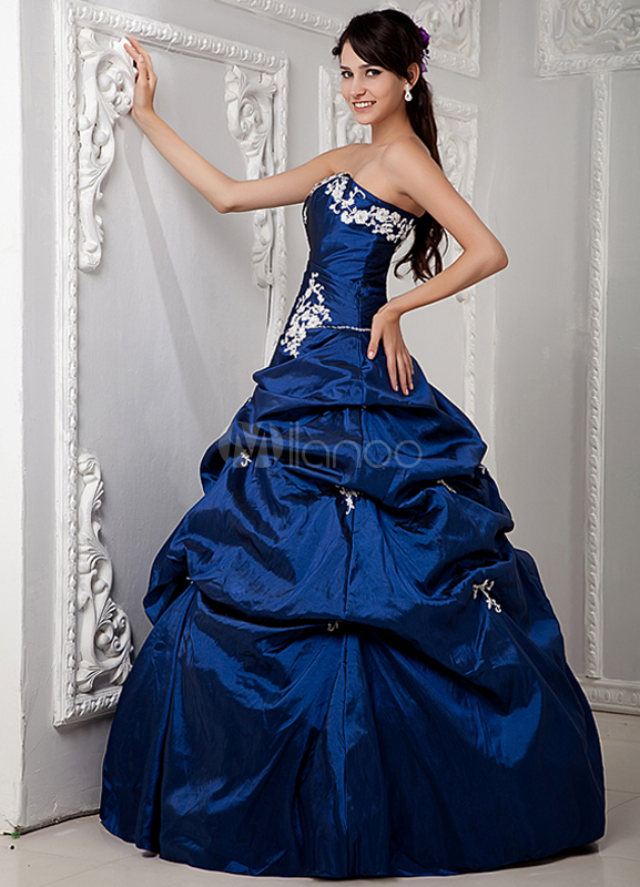 Vestiti Eleganti X 18 Anni.Abito Festa 18 Anni Blu Royal Classico Senza Spalline In Taffetta
