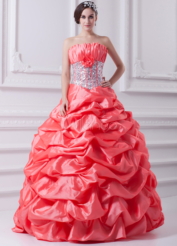 Vestidos de fiesta de Prom de tafetán de color de sandía sin ...