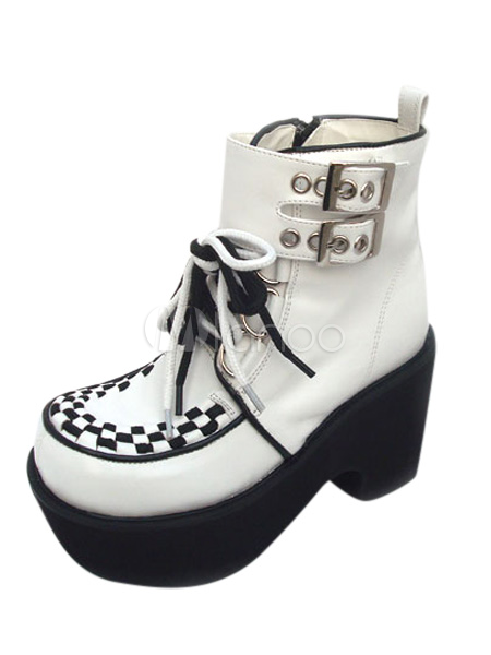 White Chunky High Heel High Platform Front Tie PU Ankle Lolita Shoes