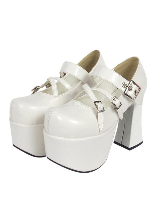 Zapatos blancos de lolita con plataforma de estilo dulce lf08tURCi