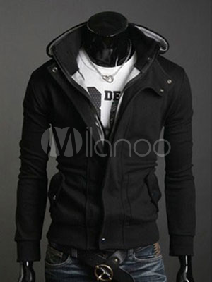 Men Hoodie Black Assassins Creed Hoodie Long Sleeve Full Zip Sweatshirt